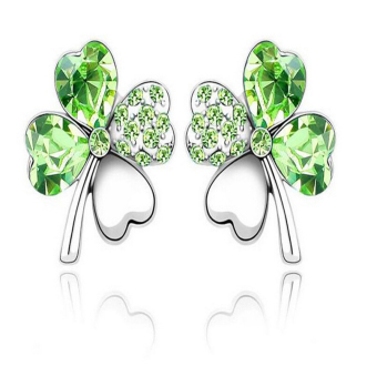 J028 New 4 Leaf Four Leaf Clover Crystal Special Heart Love Stud Earrings Green - Intl Price Philippines