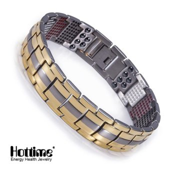 Hottime 591 PCS 4 In 1 Bio Elements Energy Stone Fashion titanium germanium bracelet Never Fade Gold Plated Men's Jewelry 10093 - intl Price Philippines