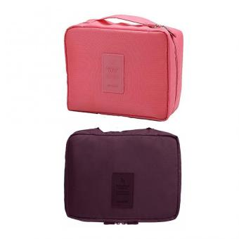 Portable Waterproof Multi-Pouch Travel Toiletry Cosmetic Bag Set Of 2 (,Pink,Maroon) Price Philippines