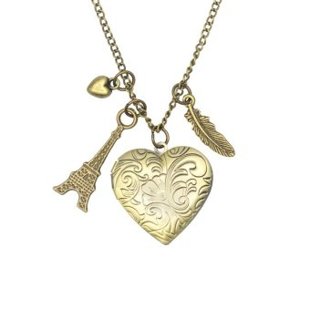 Patrick Lovebird Heart Paris Eiffel Tower Locket Feather Long Necklace (Bronze) Price Philippines