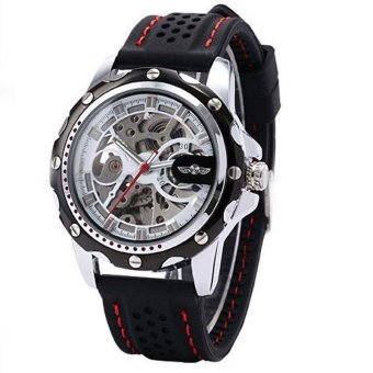 Harga Men Skeleton Wrist Watches Automatic Winding Mechanical Movement Watch (Black)