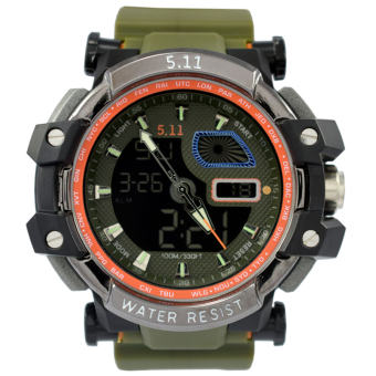 Harga SportsWatch 5.11 Tactical Series H.R.T Titanium Military Watch Green Rubber Strap (#042)