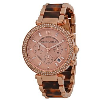 Harga Parker Chronograph Rose Dial Rose Gold-plated Tortoise-shell Acetate Ladies Watch MK5538