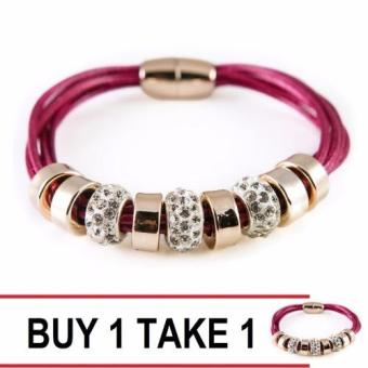 Harga Athena & Co. Roxy Leather Bracelet (Magenta/Purple) Buy 1 take 1