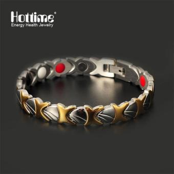 Harga Hottime Fashion New Stainless Steel Negative Ion FIR Germanium Magnetic Health Bracelets Plated Gold for Men Bio Healthy 10100 - intl