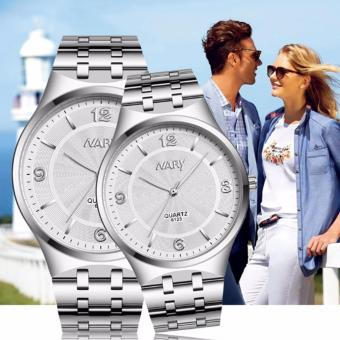 Harga NARY 6123 Couple's Stainless Steel Strap Wristwatch-White