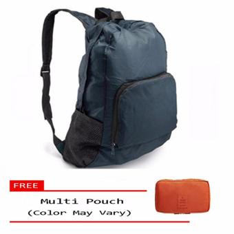 Harga Foldable Bag Pack (Navy Blue) free multi-pouch (color may vary)