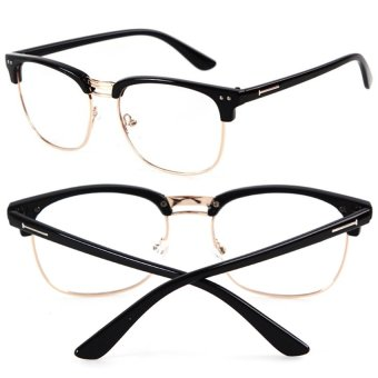 Cocotina Fashion Vintage Retro Half Frame Clear Lens Glasses Nerd Geek Eyewear Eyeglasses - Bright Black & Gold Price Philippines