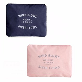 Wind Blows Folding Carry Bag (Peach,Navy blue) Set Of 2 Price Philippines