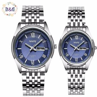 Harga NARY 8003 Couple's Fashion Steel Strap Wristwatch (Blue)