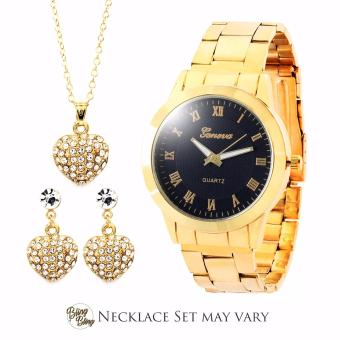 Bling Bling Necklace Set with Geneva Audrey Women's Stainless Steel Watch (Gold/Black) Price Philippines