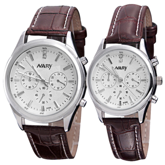 Harga NARY Couple Brown Leather Strap Watch 6098