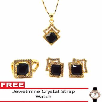 Jewelmine Arrow Onyx Cubic Zircon Jewelry Set with free Crystal Leather Strap Watch (gold) Price Philippines