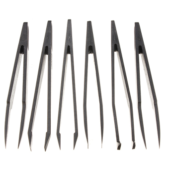 Harga 6pcs Black Anti-static Plastic Tweezer Heat Resistant Repair Tool Straight Bend