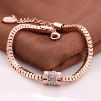 Harga Lovers Fasion Eco Rose Gold Geometry Czech Drill Bracelet B071 Rose Gold Bracelet (Rose Gold) - intl