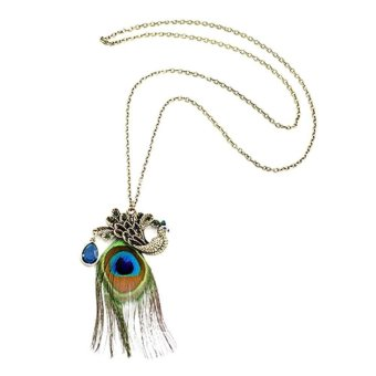 Harga Nice Gorgeous Blue Eyes Peacock Long Feather Necklace
