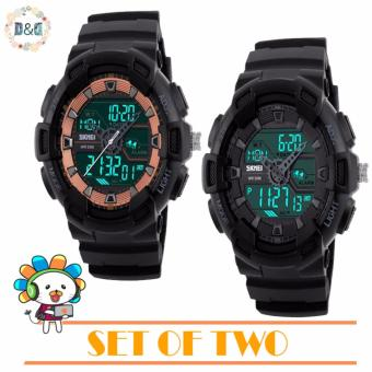 Harga D&D SKMEI 1189 Men's Dual Time Digital Rubber Strap Sport Watch Military Shockproof Waterproof LED Wristwatch Buy One Take One