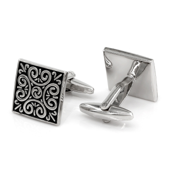 Kemstone Vintage Hollow Cufflinks Silver Tone Jewelry - intl Price Philippines