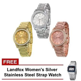 Harga Geneva Classic Round Ladies Bracelet Strap Watch Set of 3 and FREE Landfox Women's Silver Stainless Steel Strap Watch