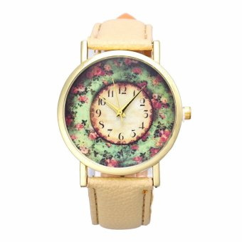 Harga Pastorale Floral Women Leather Band Analog Quartz Dial Wrist Watch (Brown)