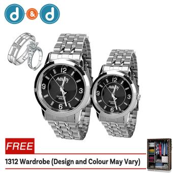 Harga D&D 6063 Couple Black/Silver Stainless Steel Strap Watch + PY-1 Adjustable Fashion Lovers Rings with Free 1312 Wardrobe (Design and Colour May Vary)