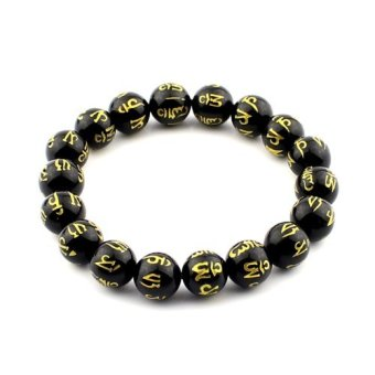 Brazil Black Agate Bracelet Carved Om Mani Padme Hung 10mm Meditation Mala Grounding Stone Protection Price Philippines