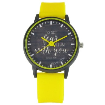 Harga PIC Watch Do Not Fear For I Am With You Yellow Silicone Strap Watch