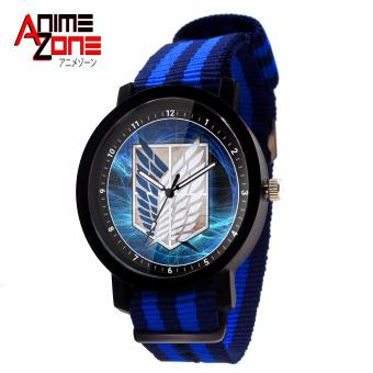 ANIME ZONE Attack On Titan Anime Survey Corps Trendy Nylon Strap Anime Watch (Blue/ Black) Price Philippines