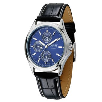 Harga NARY Women's Black/Blue Leather Strap Quartz Watch C-NR-6104-Blue Leather-Women
