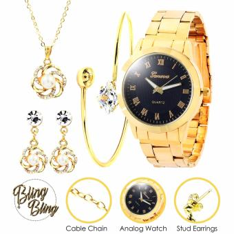 Bling Bling Necklace Set and Bangle with Geneva Audrey Women's Stainless Steel Watch (Gold/Black) Price Philippines