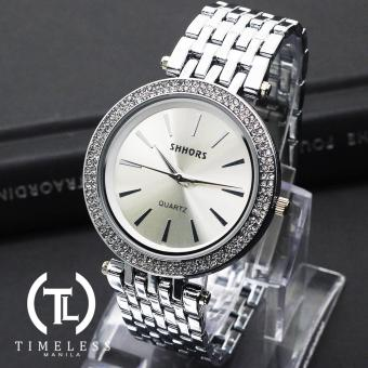 Harga Shhors Melissa Classic Studded Linear Metal Watch (Silver)