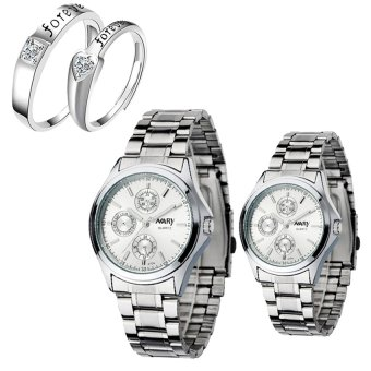 Harga NARY Couple's Digital White Stainless Steel Quartz Watch With LX-JZ8814 Adjustment Fashion Couple Rings