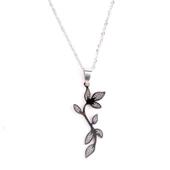 Steel Olive Leaf Long Necklace (Silver) Price Philippines