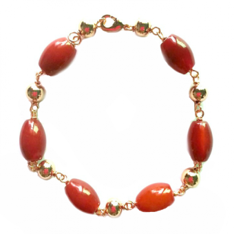6 Red Agate Gemstone in Rose Gold Bracelet Price Philippines