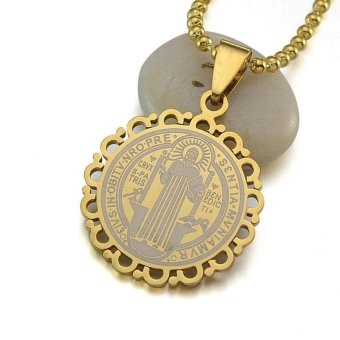 Gold Silver Tone Stainless Steel Catholic Patron Saint St. Benedict Holy Medal Pendant Necklace Chain 60CM Long Floral Frame - intl Price Philippines