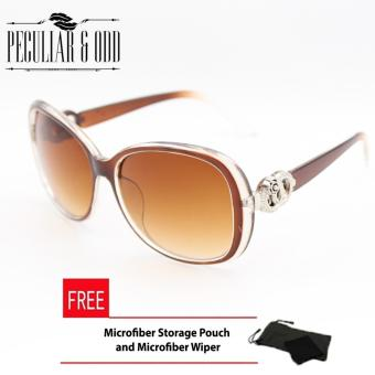 Peculiar's Oversized Sunglasses with Round Floral Concept for Women Brown_9575 Price Philippines