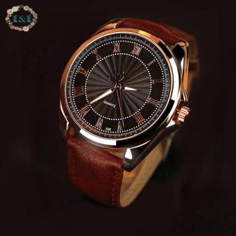 Roman Numerals Men's Leather Strap Watch C-YZL-336 (Brown) Price Philippines