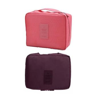 Monopoly Portable Waterproof Multi-Pouch Travel Toiletry Cosmetic Bag Set of 2 (Pink,Maroon) Price Philippines