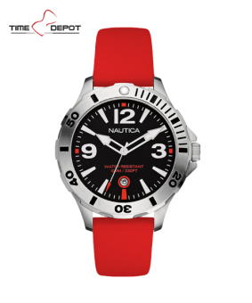 Harga Nautica Men's Red Silicone Strap Watch NAD01100G