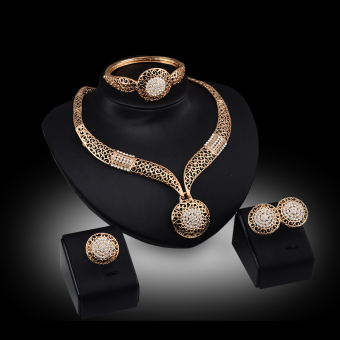 Harga Rich Long Gold Plated Rhinestone Necklace & Earrings Jewelry Sets - Intl