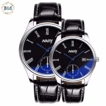 Harga NARY 6120 Lover's Calendar Blue Mirror Black Leather Strap Quartz Couple Watch
