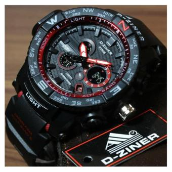 Harga D-Ziner DZ-8146 Resin Strap Watch Sport Watch (BLACK/RED)