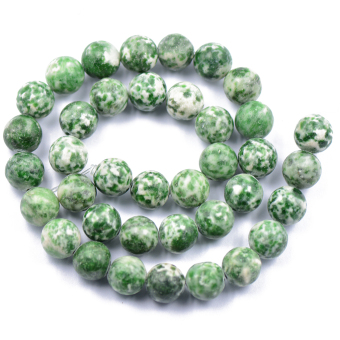 BolehDeals 10 mm Round China Qinghai Green Dot Jade Gemstone Loose Beads Strand 15 inch Price Philippines