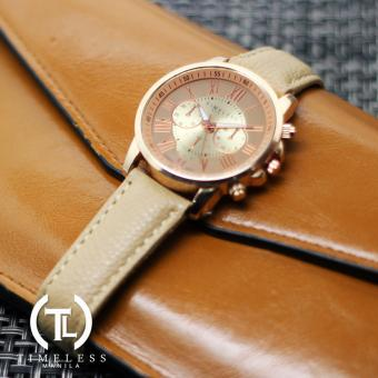 Timeless Manila Kathy Roman Numeral Chrono Leather Watch (Beige) Price Philippines
