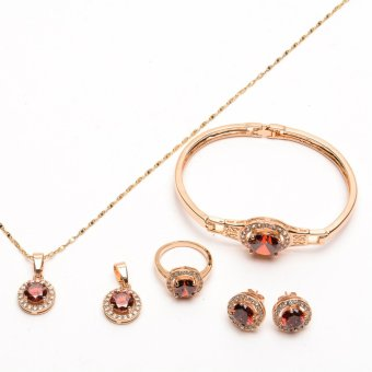 Glamorosa Vintage Dominant Ruby Gemstone Girded Crystals Accessories Set in Gold Price Philippines