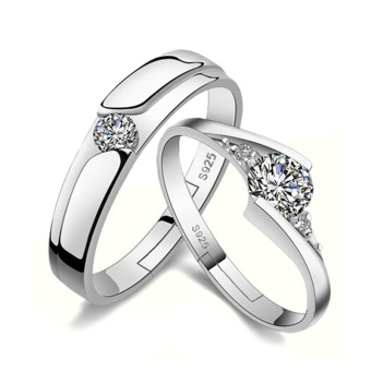 New Fashion Simple Couple Ring Alloy Platinum Plated Mens Ladies Promise Ring - intl Price Philippines