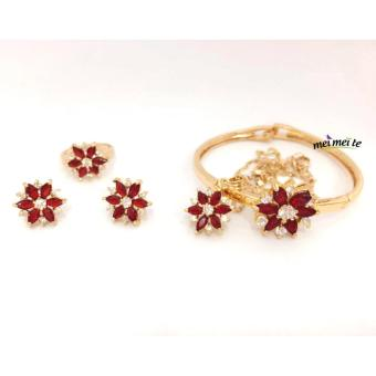 Harga MEI MEI Ruby Flower 14k Bangkok Jewelry Set
