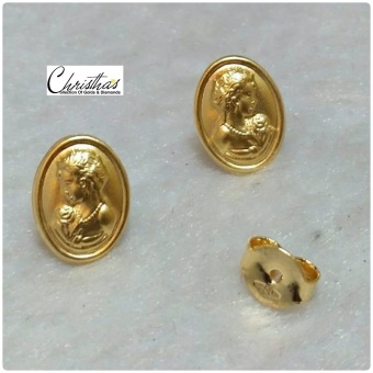 Christha's House Of Gold & Diamonds Amara Oval Stud Earrings Saudi Gold 18K Price Philippines