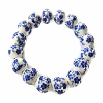 Harga Be Lucky Charms Feng Shui Blue Ceramic Big Bead Bracelet