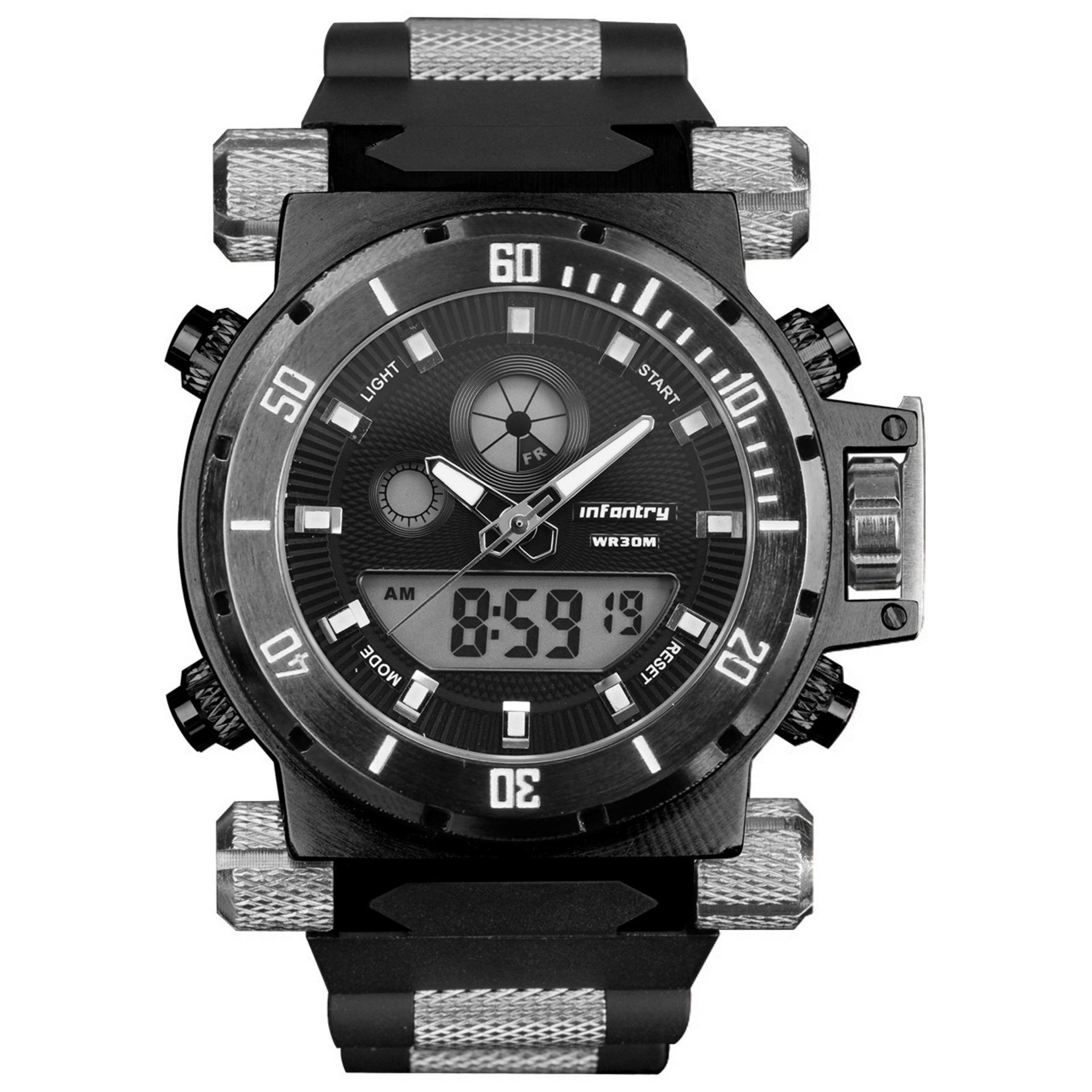 ... INFANTRY Mens Digital Quartz Wrist Watch Dual Time Alarm Sport ArmyBlack Rubber ...